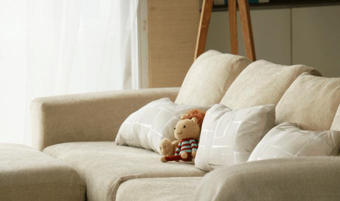Clean beige fabric sofa